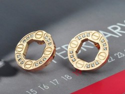 Cartier Love Earring in 18K Pink Gold with Diamonds-Paved