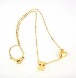 Hermes H Logo & Heart Charm Necklace in 18K yellow gold