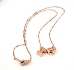Hermes H Logo & Heart Charm Necklace in 18K Pink Gold