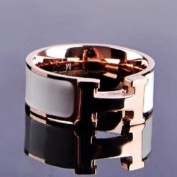 Hermes H LOGO Ring in 18kt Pink Gold with White Enamel