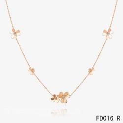 Van Cleef Arpels Pink Gold Frivole Necklace 9 Flowers
