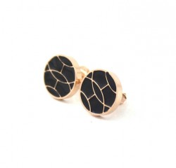 Hermes Black Enamel Stud Earrings in 18kt Pink Gold