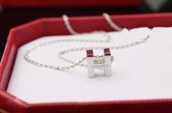 Hermes H Logo Charm Necklace 18k white gold