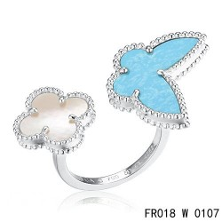 Van Cleef Arpels Lucky Alhambra Between the Finger White Gold Ring Stone Combination