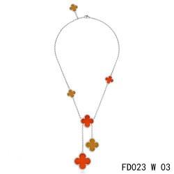 Van Cleef Arpels Magic Alhambra White Gold Necklace 6 Clover Motifs Stone Combinatio