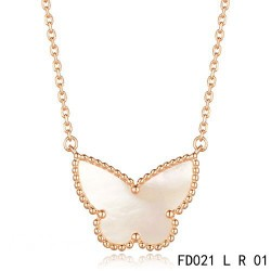 Van Cleef Arpels Pink Gold Lucky Alhambra Butterfly Necklace White Mother-of-Pearl