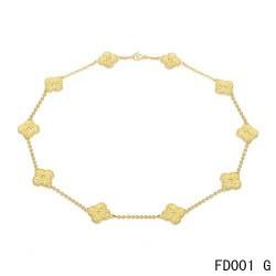 Van Cleef & Arpels Vintage Alhambra Long Necklace Yellow Gold 10 Motifs