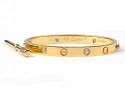 Cartier 18kt Yellow Gold LOVE Bangle with 4 Diamonds for Women