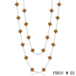 Van Cleef & Arpels Vintage Alhambra 20 Motifs Long Necklace White Gold Tiger's Eye