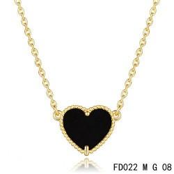 Van Cleef Arpels Sweet Alhambra Heart Necklace Yellow Gold Black Onyx