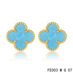 Van Cleef Arpels Yellow Gold Vintage Alhambra Turquoise Clover Earstuds