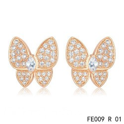 Van Cleef & Arpels Pink Gold Flying Beauties Two Butterfly Diamond Earrings