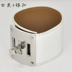 Hermes Kelly Dog White Leather KD Bracelet Cuff Palladium HW