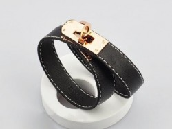 Hermes Kelly Dog Double Black Leather Bracelet,Rose Gold Hardware