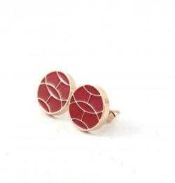 Hermes Red Enamel Stud Earrings in 18kt Pink Gold