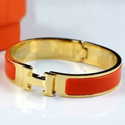 Hermes Clic H Narrow Bracelet Orange Enamel and Yellow Gold