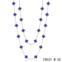 Van Cleef & Arpels Vintage Alhambra 20 Motifs Long Necklace White Gold Lapis lazuli