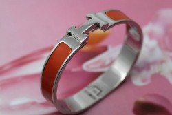 Hermes Clic H Narrow Bracelet Orange Enamel and White Gold
