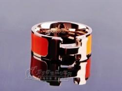 Hermes H LOGO Ring in 18kt Pink Gold with Orange Enamel