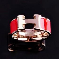 Hermes H Logo Ring in 18kt Pink Gold with Red Enamel