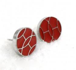 Hermes Red Enamel Stud Earrings in 18kt White Gold