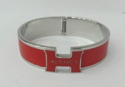 Hermes Clic Clac H Bracelet in 18kt White Gold with Rose Leather,Narrow