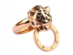 Panthere De Cartier Ring in 18K Pink Gold with Black Lacquer and Diamonds