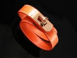 Hermes Kelly Dog Double Orange Leather Bracelet,Rose Gold Hardware