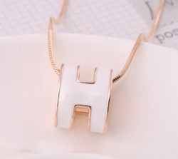 Hermes White H Logo Charm Necklace in 18kt Pink Gold