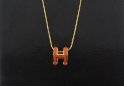 Hermes Orange H Logo Charm Necklace in 18kt Pink Gold