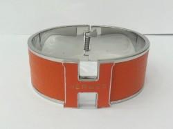 Hermes Vintage Clic Clac H Bracelet in 18kt White Gold with Orange Leather,Wide