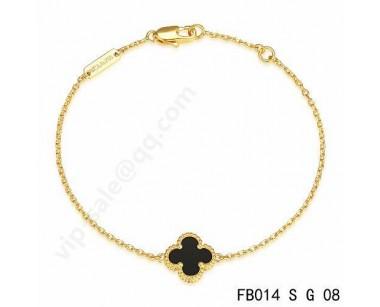 Van Cleef Arpels Sweet Alhambra Bracelet In Yellow Gold With Black