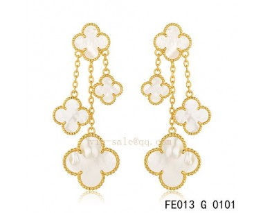 Fake Van Cleef And Arpels White Mother Of Pearl Yellow Gold Earrings
