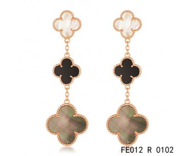Van Cleef Arpels Magic Alhambra Earrings In Pink Gold 3 Motifs