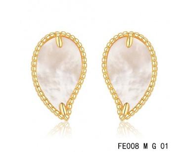 Van Cleef Arpels Sweet Alhambra Leaf Earrings Yellow Gold White Mother Of