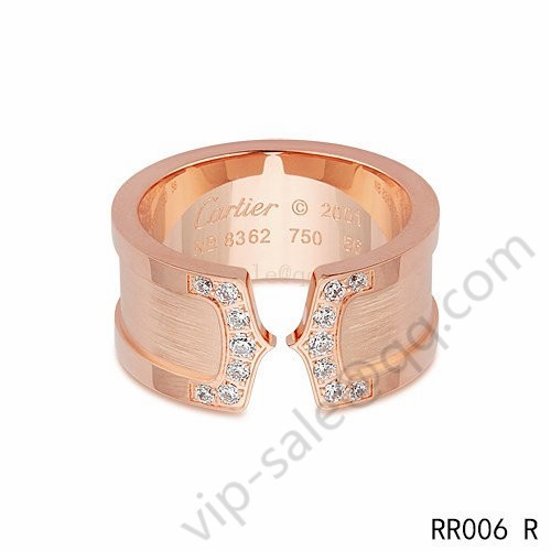 30fb82c71e0 Cartier double c wedding wide band ring in pink gold with diamonds