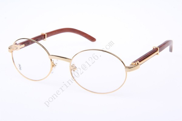 2016 Cartier 51551348 Wood Eyeglasses, Gold--sale in cartier ...
