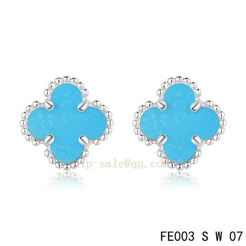 Van Cleef And Arpels Clover Turquoise White Gold Earrings Replica