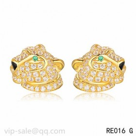 Panth茅re DE Cartier Earrings in 18K yelloe gold fully diamond-paved with panther head motif