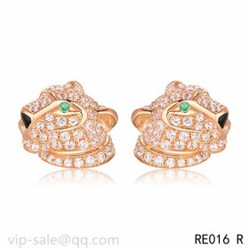 Panth茅re DE Cartier Earrings in 18K pink gold fully diamond-paved with panther head motif