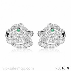 Panth茅re DE Cartier Earrings in 18K white gold fully diamond-paved with panther head motif
