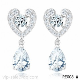You're Mine Earrings in Platinum with a pear-cut diamonds pendants