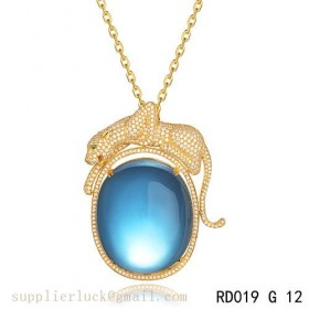 Panthere de Cartier blue crystal pendant necklace in yellow gold with diamonds