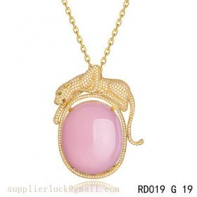 Panthere de Cartier pink crystal pendant necklace in yellow gold with diamonds