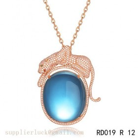 Panthere de Cartier blue crystal pendant necklace in pink gold with diamonds