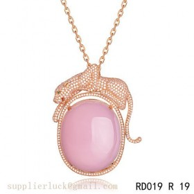 Panthere de Cartier pink crystal pendant necklace in pink gold with diamonds