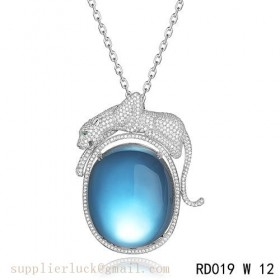 Panthere de Cartier blue crystal pendant necklace in white gold with diamonds
