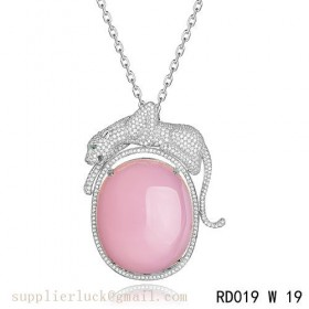 Panthere de Cartier pink crystal pendant necklace in white gold with diamonds