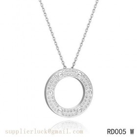 Cartier love necklace set in white gold with diamonds