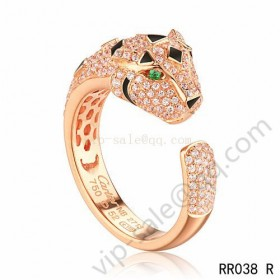 Cartier panther motif ring in pink gold with diamonds emerald
